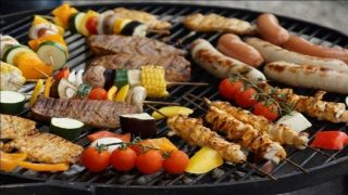 variety of food on a grill